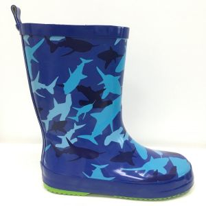 Beno Kids Sharks Wellingtons Blue