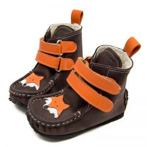 Zeazoo Kids Yeti Boots Brown Orange with Wool Lining